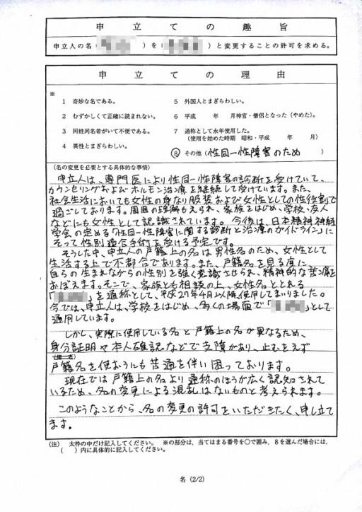 名の変更許可申立書[2枚目]